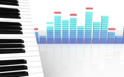 3d spatie van pianosleutels Stock Foto's