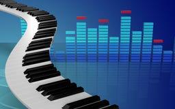 3d spatie van pianosleutels Stock Afbeelding