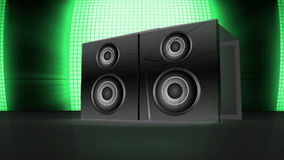 3d speaker exploding to reveal montage of music and dance Royalty Free Stock Image