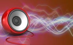 3d speaker speaker. 3d illustration of speaker over red sound wave background Stock Photo
