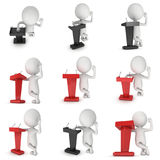 3d Speaker Podium. And small man set. Tribune Rostrum Stand with Microphones. 3d render isolated on white background. Debate, press conference concept Stock Image
