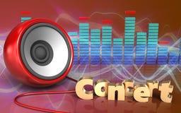 3d speaker speaker. 3d illustration of speaker over red sound wave background with concert sign Stock Image