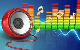 3d speaker speaker. 3d illustration of speaker over sound wave blue background with notes Stock Image