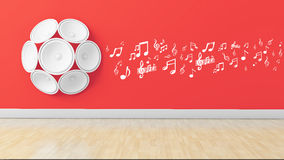 3d speakers with musical note on wall, Stock Photos