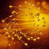 3D specificerad illustration av en droppe av guld- färg för vatten Arkivfoto