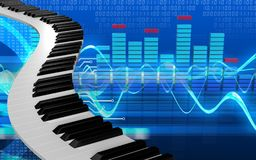3d spectrum blank. 3d illustration of piano keys over cyber background Stock Images