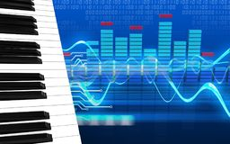 3d spectrum blank. 3d illustration of piano keys over cyber background Stock Photos