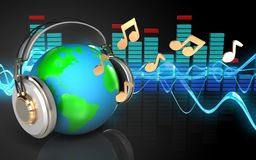 3d spectrum earth in headphones. 3d illustration of earth in headphones over sound wave black background with notes Stock Images