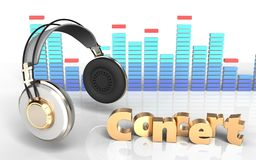 3d spectrum headphones. 3d illustration of headphones over white background with concert sign Stock Photo