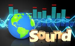 3d spectrum spectrum. 3d illustration of earth globe over sound wave black background with 'sound' sign Stock Photography