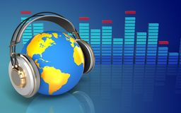 3d spectrum world in headphones Stock Image