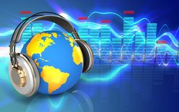3d spectrum world in headphones Stock Photography