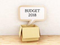 3d Speech bubble Budget 2018. 3d illustration. Opened box with Speech bubble with Budget 2018 against brick wall. Business concept Stock Photo