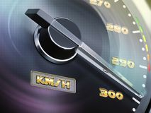 3d speedometer, round gauge with metal frame. 3d illustration royalty free illustration