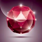 3D sphère brillante rouge abstraite avec des étincelles, globe brillant rouge Images libres de droits