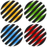 3d sphères rayées, globes Icônes de sphère, logos abstraits de sphère Photographie stock libre de droits