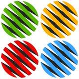 3d sphères rayées, globes Icônes de sphère, logos abstraits de sphère Photos stock
