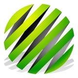 3d sphères rayées, globes Icônes de sphère, logos abstraits de sphère Images libres de droits