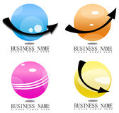 3D sphere with arrows logo. 3d logo set icons with arrow Royalty Free Stock Photo
