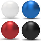 3d sphere collection. 3d blue, white, red, black spheres on white background Royalty Free Stock Image