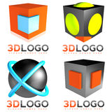 3D sphere cube logo. 3D sphere and cube logo set Stock Image