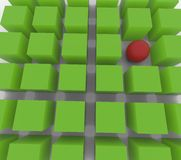 3D sphere among cubes. 35 3D green cubes and 1 3D red sphere Stock Image