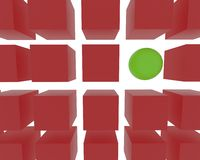 3D sphere among cubes. 35 3D green cubes and 1 3D red sphere Royalty Free Stock Photography