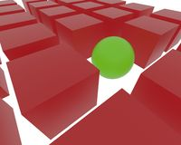 3D sphere among cubes. 3D red cubes and 1 3D green sphere Royalty Free Stock Photo