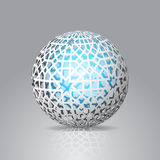 3d Sphere Decorated With Geometric Abstract Shape Ornament Stock Image