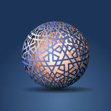 3d Sphere Decorated With Geometric Abstract Shape Ornament Royalty Free Stock Photography