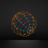 3d Sphere. Global Digital Connections. Technology Concept. Vector Illustration. Wireframe Object with Lines and Dots. Royalty Free Stock Images