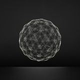 3d Sphere. Global Digital Connections. Technology Concept. Vector Illustration. Wireframe Object with Lines and Dots. Royalty Free Stock Photography