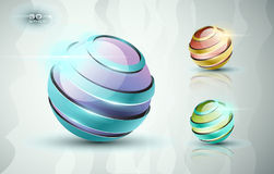 3D sphere icons. In different colors Stock Illustration
