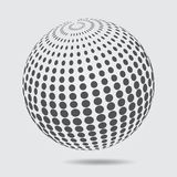 3D Sphere logo halftone pattern. Circle dotted design element is. Olated on white background. vector illustration Royalty Free Stock Image