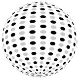 3d sphere orb with textured grayscale surface on white. Abstract Royalty Free Stock Image