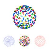 3d Sphere from particles. Isolated on white.Vector colorful illu. 3d Sphere from particles. Isolated on white background.Vector colorful illustration Royalty Free Stock Images