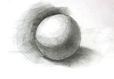 3D sphere pencil sketch Royalty Free Stock Photography