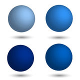3D sphere. Set of realistic balls of different shades of blue. Royalty Free Stock Photos