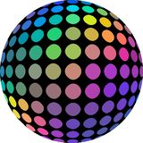 3d sphere spectrum holographic colors. Iridescent rainbow tints mosaic globe on white background isolated. royalty free illustration