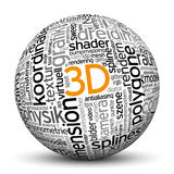 3D Sphere with tag cloud imprint. Stock Photography