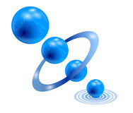 3 d - sphere. Wallpaper. Abstract background with molecules spheres reflective surface Stock Photography