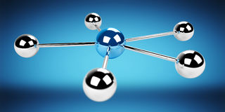 3D spheres blue network 3D rendering. 3D spheres blue network on blue background 3D rendering Royalty Free Stock Photo