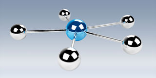 3D spheres blue network 3D rendering Royalty Free Stock Photo