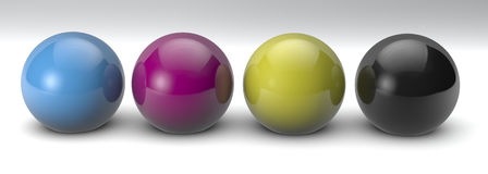 3D spheres with CMYK colours. CMYK 3D colour spheres  on white background Royalty Free Stock Image