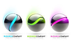 3D Sphere. 3D Colorful spheres in blue green and purple colours with Royalty Free Stock Photo