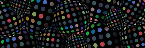 3d spheres creative web banner. Multicolor mosaic pattern on black background. royalty free illustration