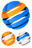 3d Spheres, globes with lines - Abstract 3d design element. Emblem, icon Royalty Free Illustration