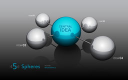 3D Spheres infographics template. Abstract 3d spheres infographics design elements with data labels Stock Images
