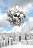 3d spheric objecte flying over white cityscape Stock Photography