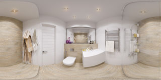 3D Spherical 360 degrees panorama of bathroom Royalty Free Stock Photos